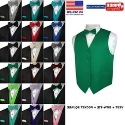 Men's Solid Satin Tuxedo Vest, Bow-Tie and Hankie. Formal, D