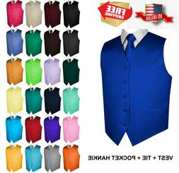 Men's Solid Satin Tuxedo Vest, Tie and Hankie. Formal, Dress