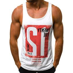 Forthery Men's Tank Tops Letter Print Muscle Gym Workout Fit