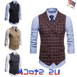 Men Suit Vest Plaids Double Breasted Work Casual Dress Sleev