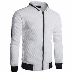 Men Vests Casual Coat Argyle Zipper V-Neck Solid Polyester O