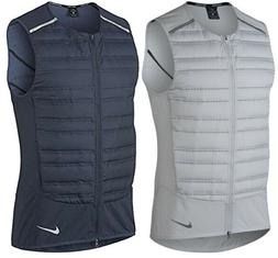 Nike Mens Aeroloft Down Filled Gilet Running Vest Navy/White