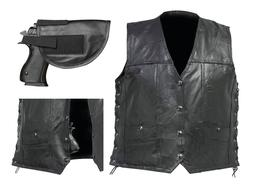 Mens Black Buffalo Leather CONCEALED CARRY VEST Gun Holster