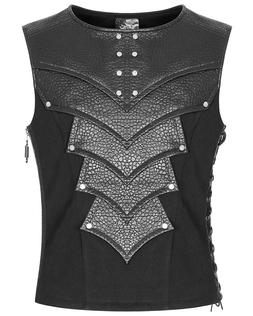 Punk Rave Mens Dieselpunk Armour Waistcoat Vest Top Black Go