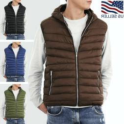 Mens Hooded Vest Padding Jacket Puffer Sleeveless Winter Lig