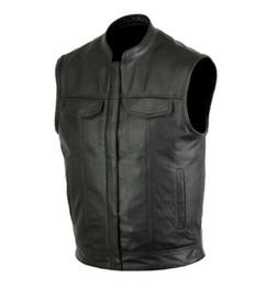 Mens Motorcycle Leather Club Vest Solid Black Concealed Carr