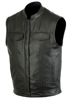 mens motorcycle leather club vest solid black