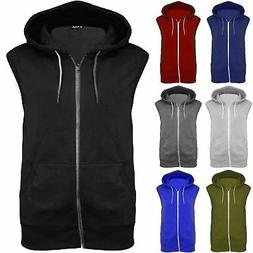 Mens Sleeveless Zip Up Gillet Hoodie Hooded Sweatshirt Light