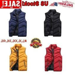 Mens Winter Warm Zipper Quilted Vest Tops Sleeveless Padded