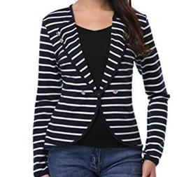 ARGSTAR ~ Navy Blue & White Striped Jacket ~ NWT Size Large