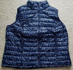 WOMAN WITHIN NAVY FLORAL PACKABLE PUFFER VEST WOMEN'S PLUS S