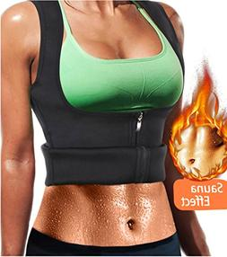 LODAY Women Neoprene Sauna Sweat Waist Trainer Vest with Zip