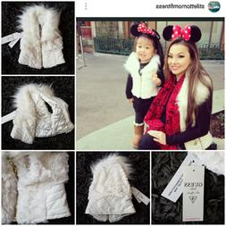 New $79 GUESS KIDS Girls WHITE or BLACK Faux Fluffy Fur & Le