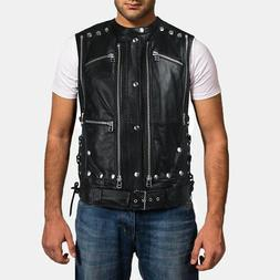 New Arrival Black Motorcycle Leather Vest For Boys