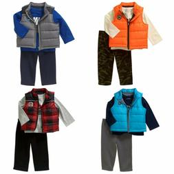 New Healthtex Baby Boy Puffer Vest Patch Tee & Pants 3 PC Ou