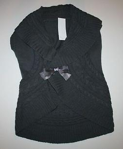 New Gymboree Girls Gray Cable Knit Sweater Vest Bow Front Si