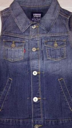 New Levi Vest Girls 12-13 years Large Blue Jean Lightscape