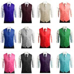 New Men Formal Casual Tuxedo Suit Dress Vest Waistcoat & Nec