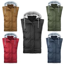 NEW Men Removable Hooded Sleeveless Poly Vest 4 Colors ALL S