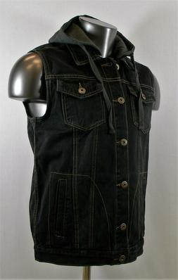 New Men's Cool Jeans Denim Vests Jackets with Hoodies - Blac