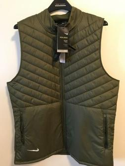 NEW Men's Nike Aeroloft Aerolayer Running Vest Olive Green