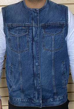 NEW MENS DENIM VEST CLASSIC STYLING BLUE CONCEALED CARRY