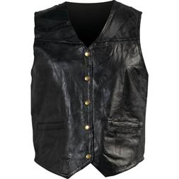New Mens Genuine Leather Motorcycle Biker Vest Lg XL 2X Or 3