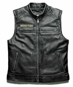 New Mens Harley Davidson Leather Vest Cafe Racer Black Biker