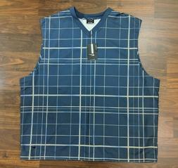 New Nike Golf Mens Vest Pull Over V Neck Check Blue Size 2XL