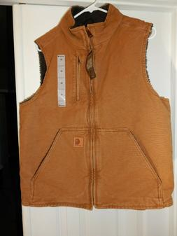 NEW Carhartt Washed Duck Sherpa Lined Canvas Vest Workwear S