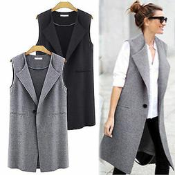 Womens Vest Trench Coat Cardigan Sleeveless Long Lapel Waist