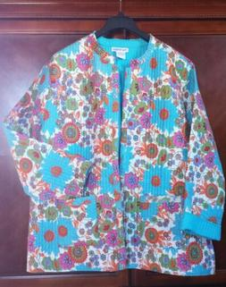 NEW! Women's 3X Quilted Jacket Cotton Floral Reversible Pock