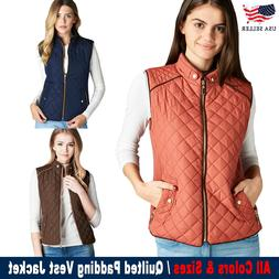 New Women's Lightweight Quilted Padding Zip Up Pocket Jacket