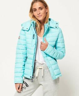 New Womens Superdry Fuji Slim Double Zip Aqua Mint Slub