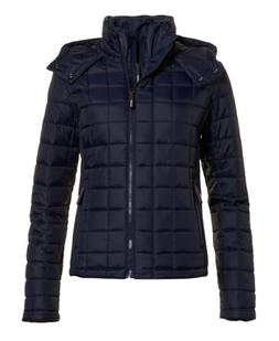 New Womens Superdry Hooded Box Quilt Fuji Sport Code Navy