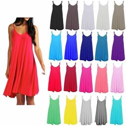 New Womens Ladies Plain Swing Vest Sleeveless Top Strappy Ca