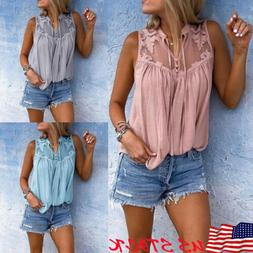 New Womens Summer Lace Vest Sleeveless Blouse Loose Casual T