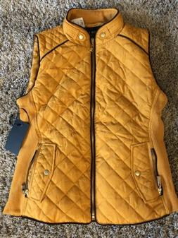 NWT Active USA Womens Quilted Vest Mustard  Size M, Medium