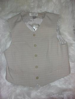 NWT Petite Sophisticate CREAM gray plaid vest LIned - size 1