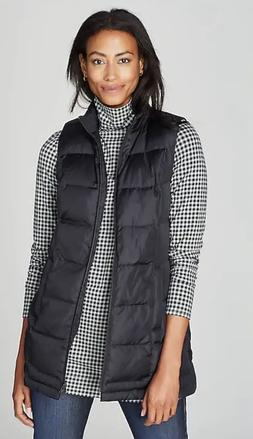 NWT ~ J JILL Black DOWN Puffer SIDE-SNAP Long VEST ~ MP