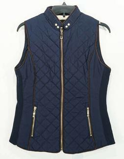 NWT Active USA Dark Blue Quilted Vest, Gold Zipper, Sz. Smal