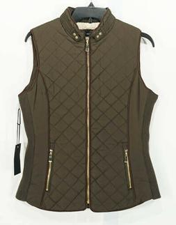 NWT Active USA Dark Green Quilted Vest, Gold Zipper, Sz. Sma