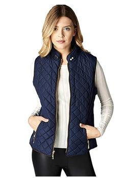 NWT Active USA Quilted Padding Vest With Suede Piping Detail