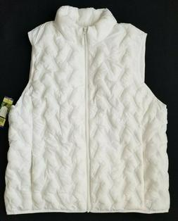 NWT Women's TANGERINE White Quilted Light Weight Vest Jacket