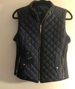NWT Womens Active USA Size Medium Quilted Padded Blue Full Z