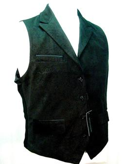 Old West Vest Victorian Style Black velveteen with a paisley