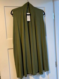 Eileen Fisher Olive Green Simple Long Vest PL Petite Large $