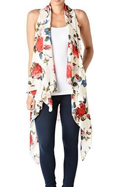 Triple9shop Women's Open Asymmetrical Hem Vest Cardigan