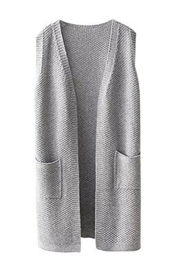 Viottiset Women's Open-front Knitted Long Cardigan Sweater V