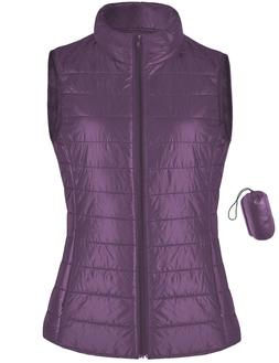 Ladies Packable Puffer Vest Lightweight Quilted Stand up col